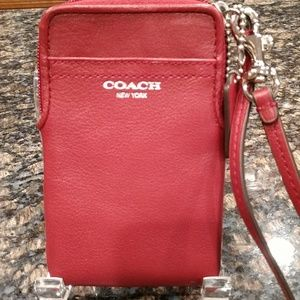 Coach card case red leather wristlet